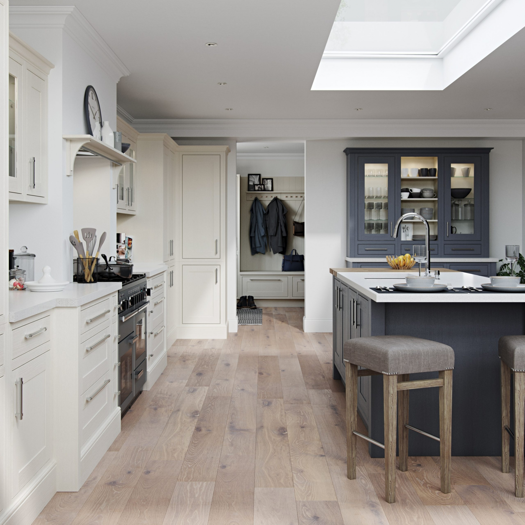 Chalk and Grey Shaker In-Frame Kitchen