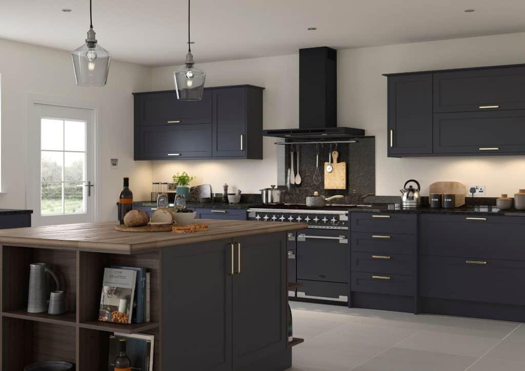 Dark Blue Mereway Kitchen with Oak Finish