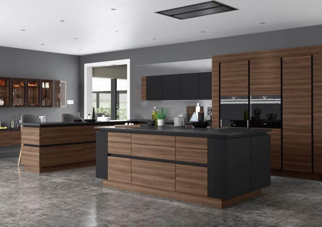 Dark oak Handleless kitchen
