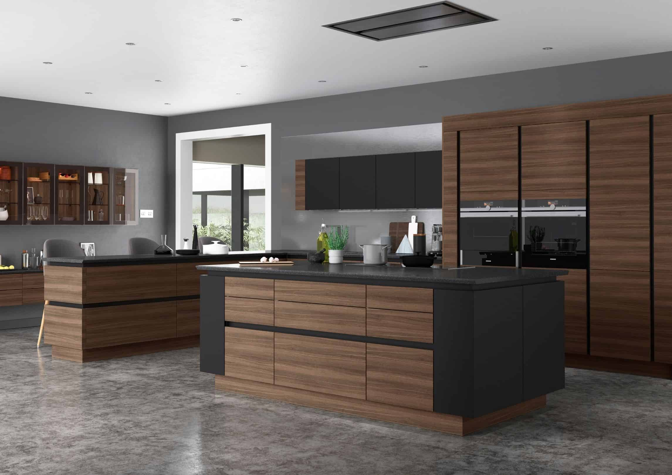 Dark oak Handleless kitchen