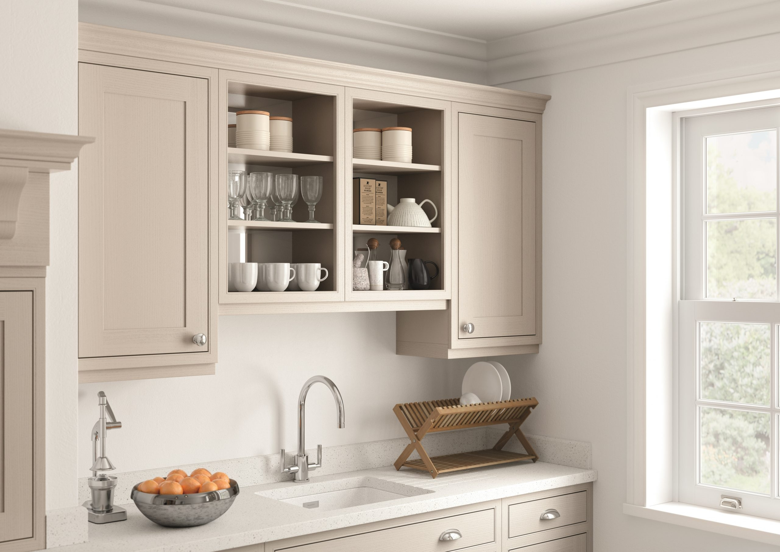 Neutral In-Frame Open Cabinet