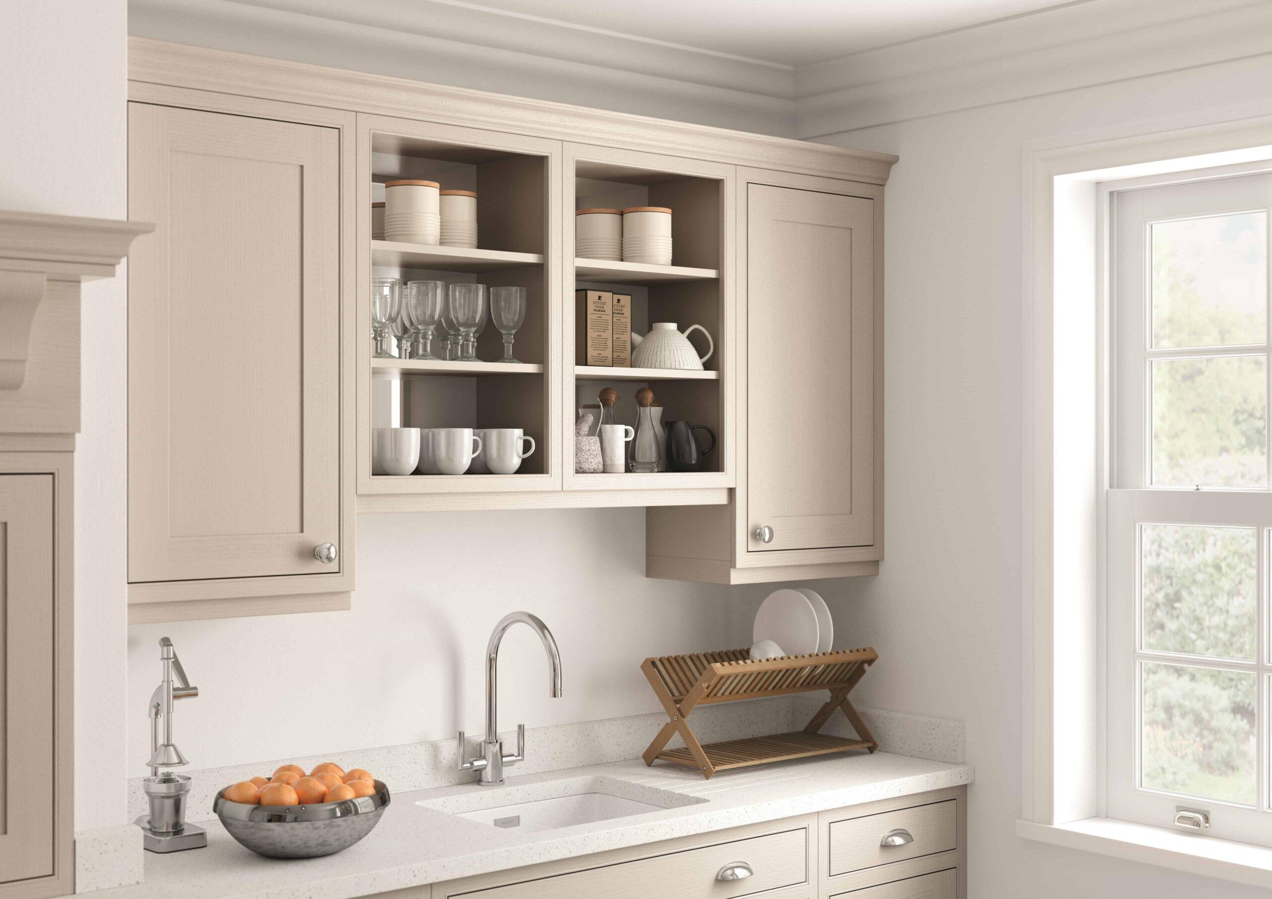 Neutral In-Frame Open Cabinet