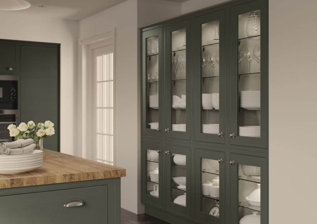 Olive Green Glazed Kitchen Cupboards