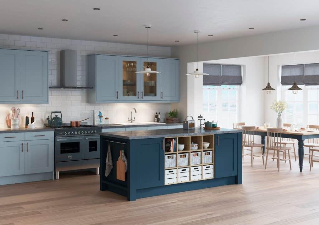 Mereway Shaker Kitchen with Blue Finish