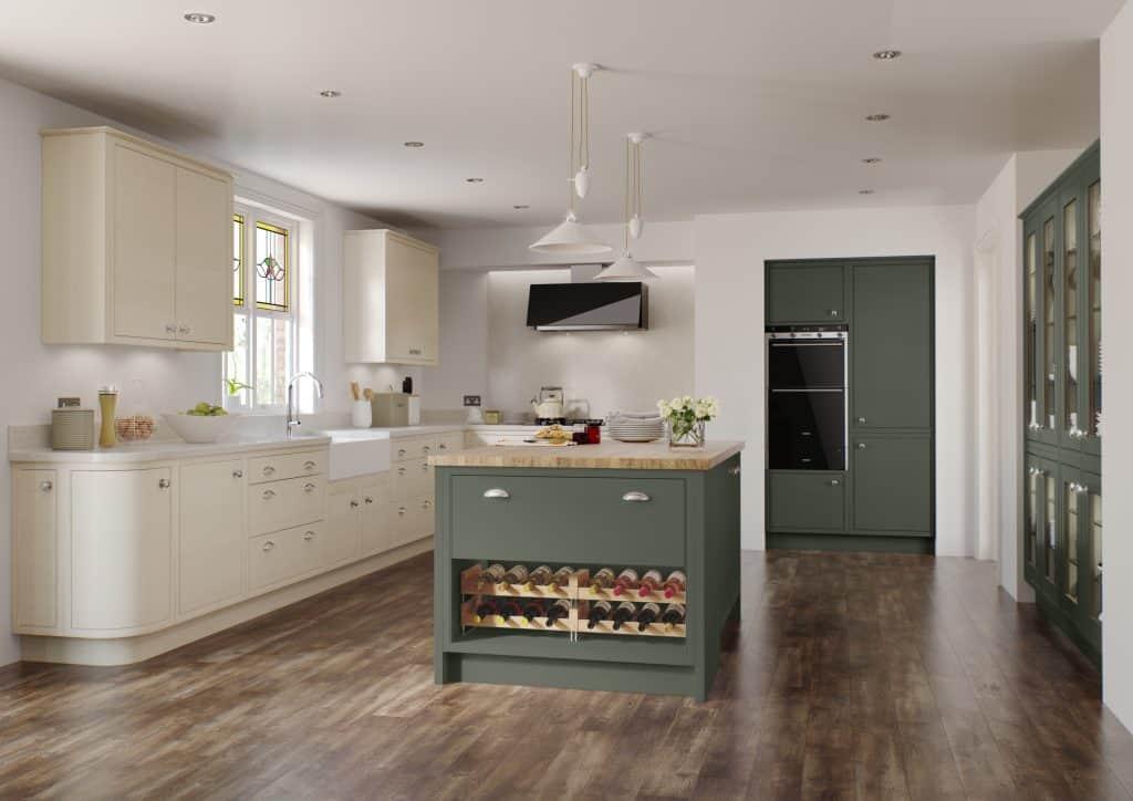 Modern in-frame kitchen Olive Green