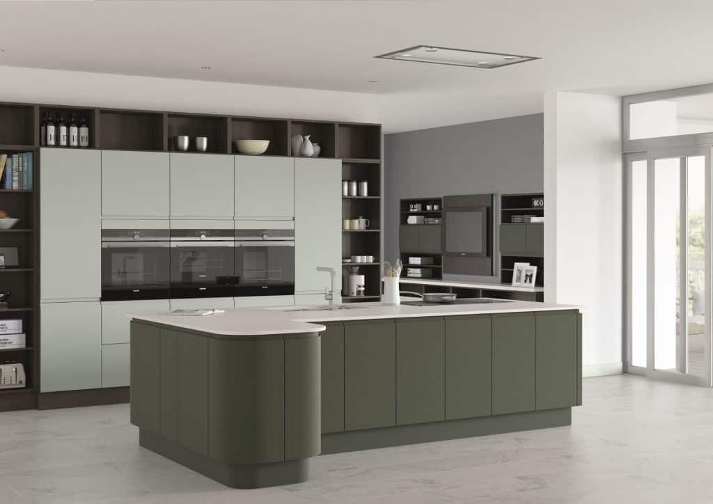 Dark green handleless kitchen