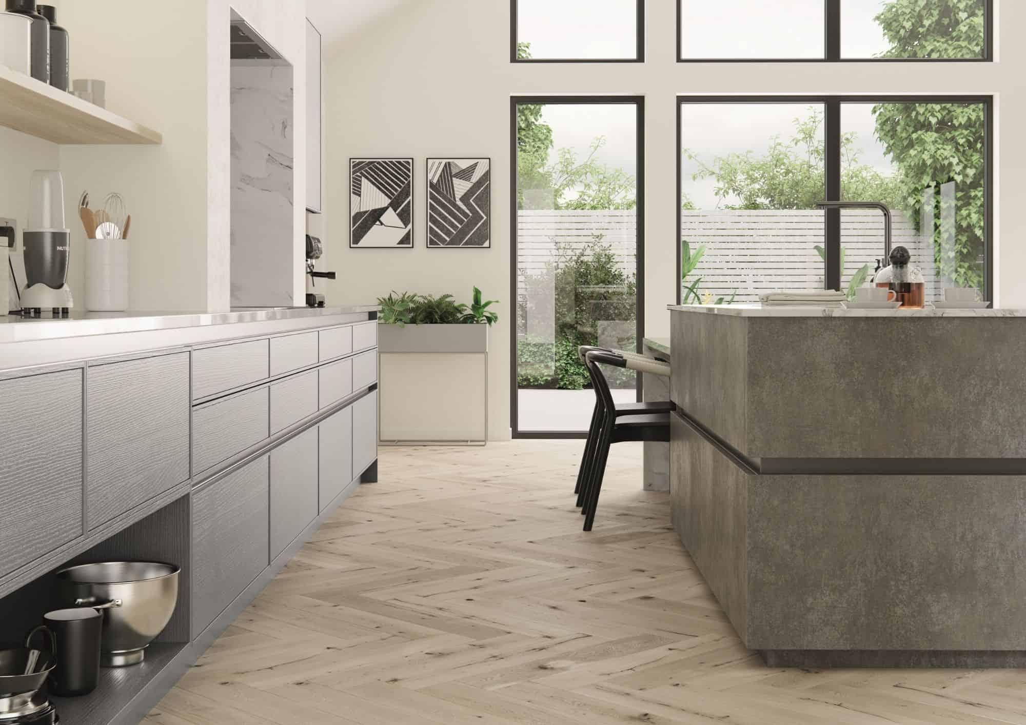 Open Plan Kitchen Wood Floor