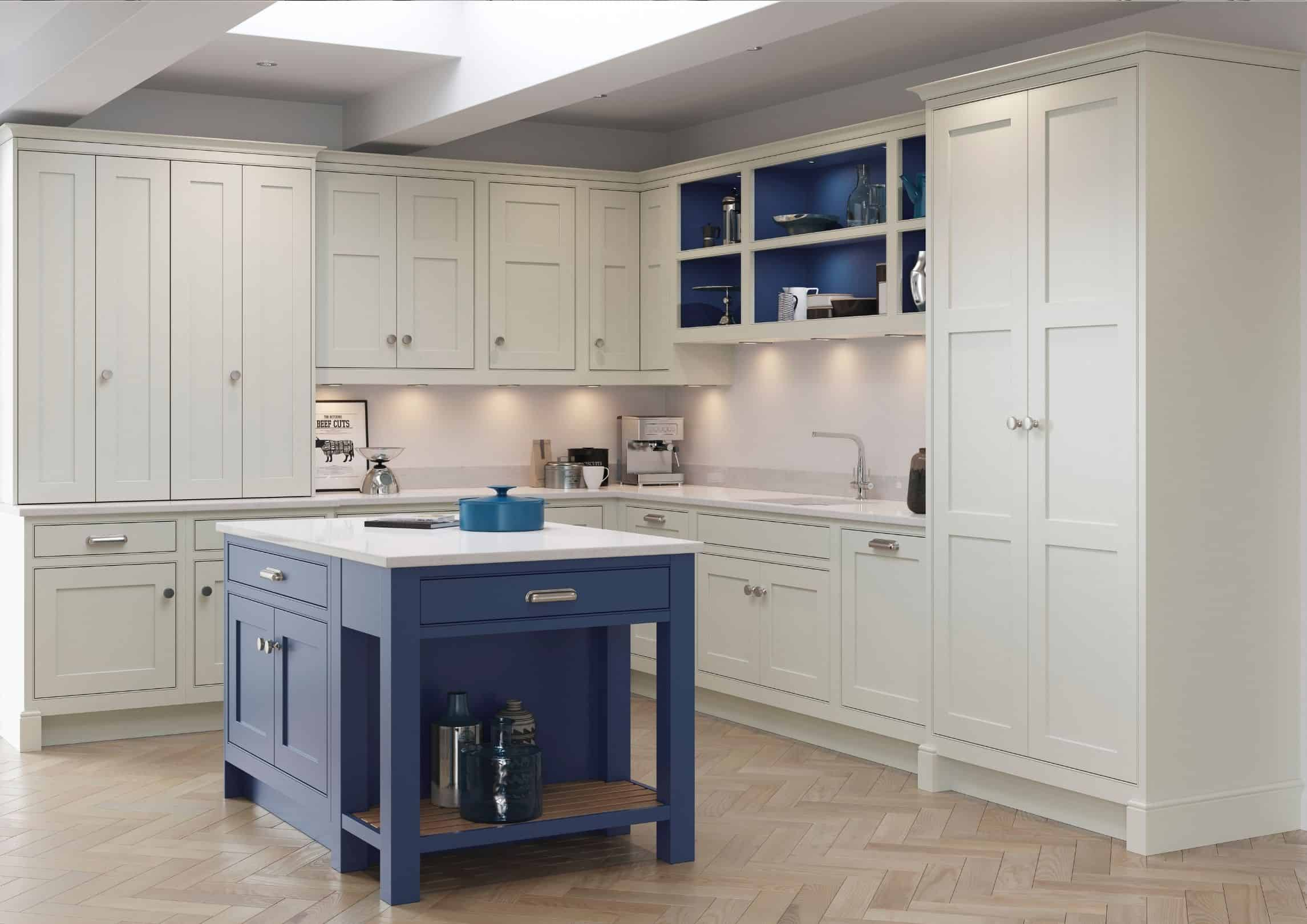 traditional kitchen with blue finish