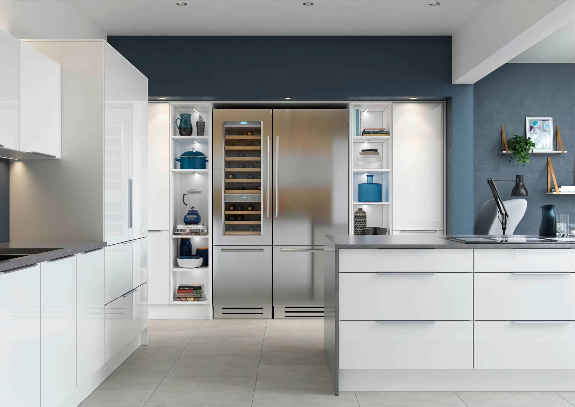 white glossy contemporary kitchen