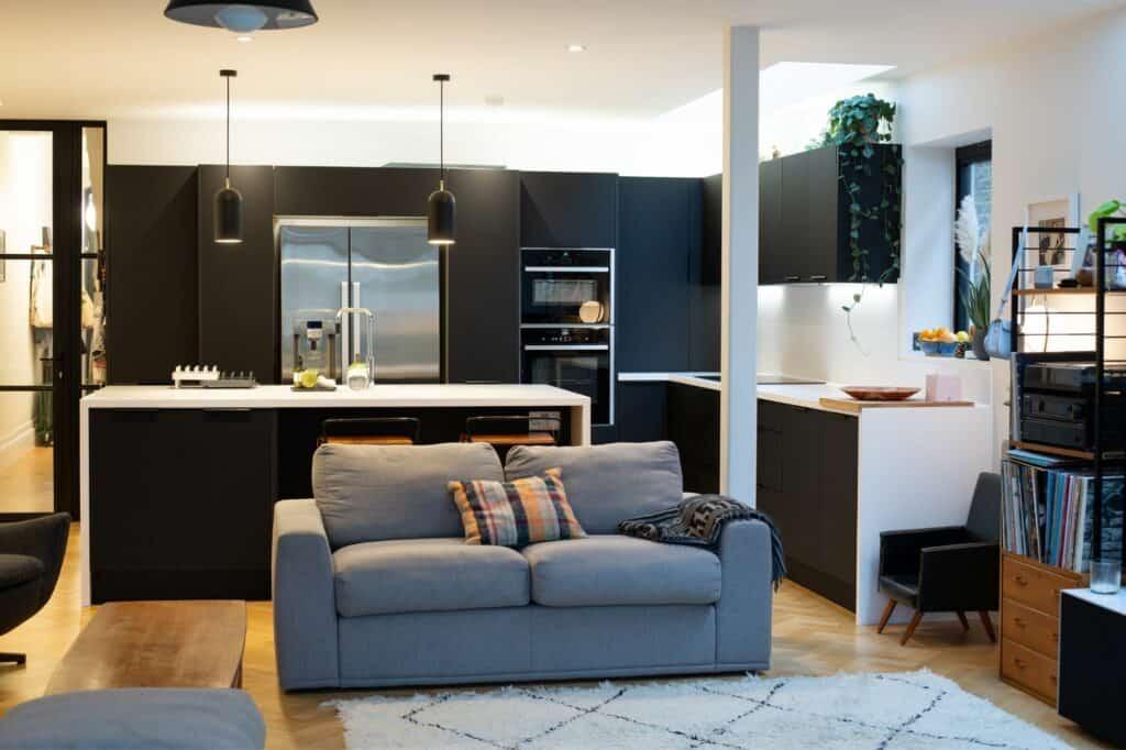 black kitchen island design