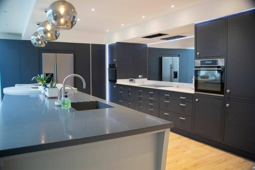 Blue Inframe Galley Kitchen