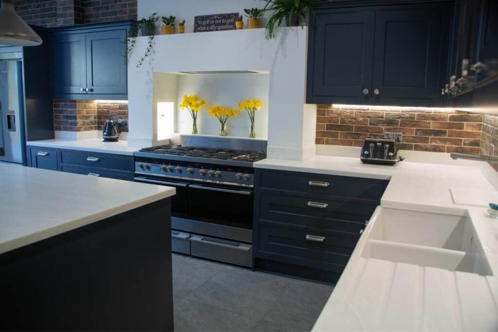 Blue White Brick Kitchen
