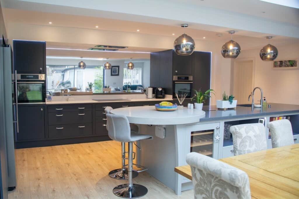 Blue and Grey Inframe Kitchen