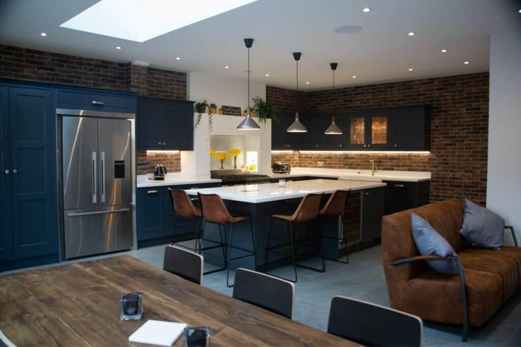 Dark Blue In Frame Kitchen